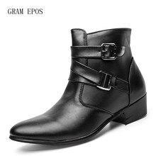 GRAM EPOS для мужчин острый носок Высота Увеличение ботильоны мужской моды замши кожаные модельные туфли высокие топы на высоком каблуке