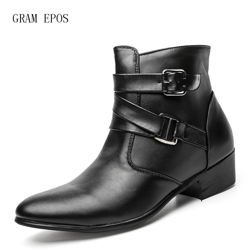 GRAM EPOS Men pointed toe height increase ankle boots male fashion suede leather dress high tops High heels