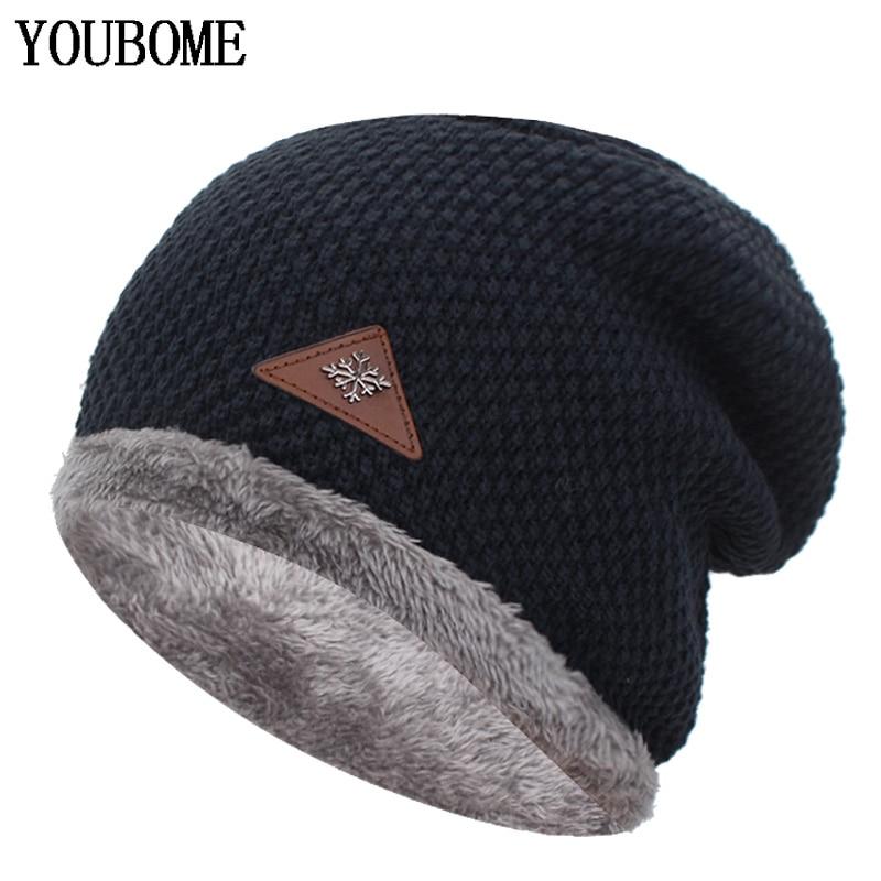 YOUBOME Knitted Hat Men   Skullies     Beanies   Winter Hats For Men Women Mask Brand Gorros Bonnet Male Warm Baggy Soft   Beanie   Hat Cap