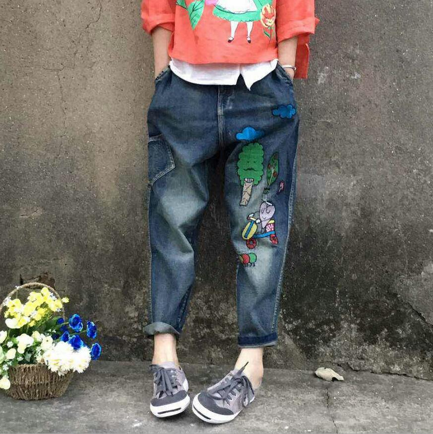 2017 new Cartoon Printing Elastic Waist Loose Casual Denim Trousers Collapsed Pants Female mori girl a203 bear embroidery pocket shorts denim pants trousers mori girl summer