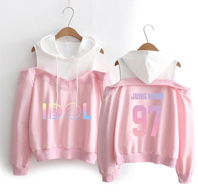 84e20a778 new Jimin Suga J-hope BTS Hoodies Sweatshirts Women Long Sleeve Off-Shoulder  Exclusive Kpop Women IDOL Album Hooded Clothes