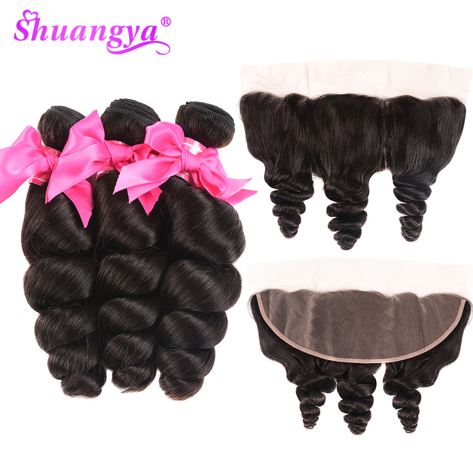 Brazilian Loose Wave Bundles With Frontal 13 4 Closure 100 Remy Human Hair 3 4 Bundles