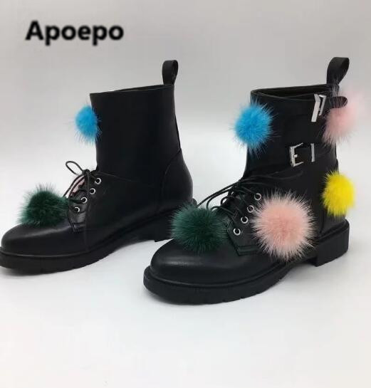 Apoepo 2017 Fall Women Black Leather Colorful Full Balls Lace Up Front Buckles Low Heels Pom Pom Short Ankle Boots Big Size colorful pom pom trim slub tee
