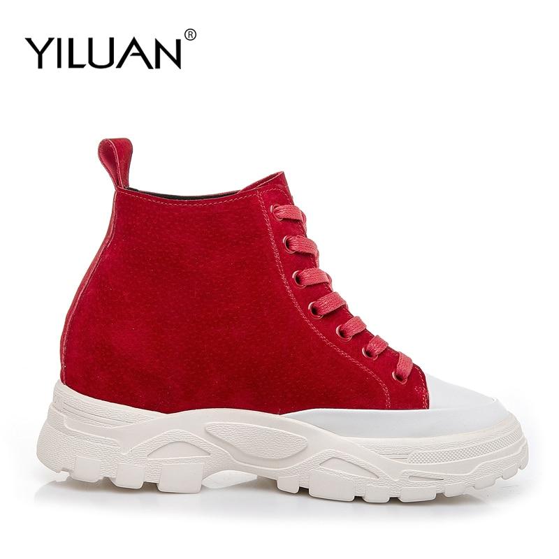 Sneakers Automne Haute red Yiluan Casual En Talons Femmes Noir Chaussures Rouge Sport Nouvelle Mocassins Black Augmenté Cuir De qIqp8