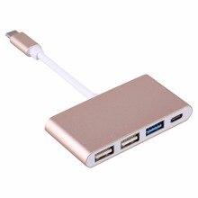 UBS 3.1 Tipo C para 3.0 HUB USB Conversor USB-C Tipo C Super Speed Apoio OTG Cabo Adaptador para MacBook/Xiaomi 5S PC Portátil Ouro