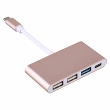 UBS 3.1 Type C to USB 3.0 HUB Converter USB-C Type C Super Speed Support OTG Adapter Cable for MacBook/Xiaomi 5s PC Laptop Gold