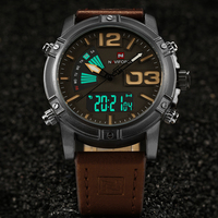 NAVIFORCE Top Luxury Brand Men S Sports Watches Men Leather Analog LED Display Military Quartz Wrist