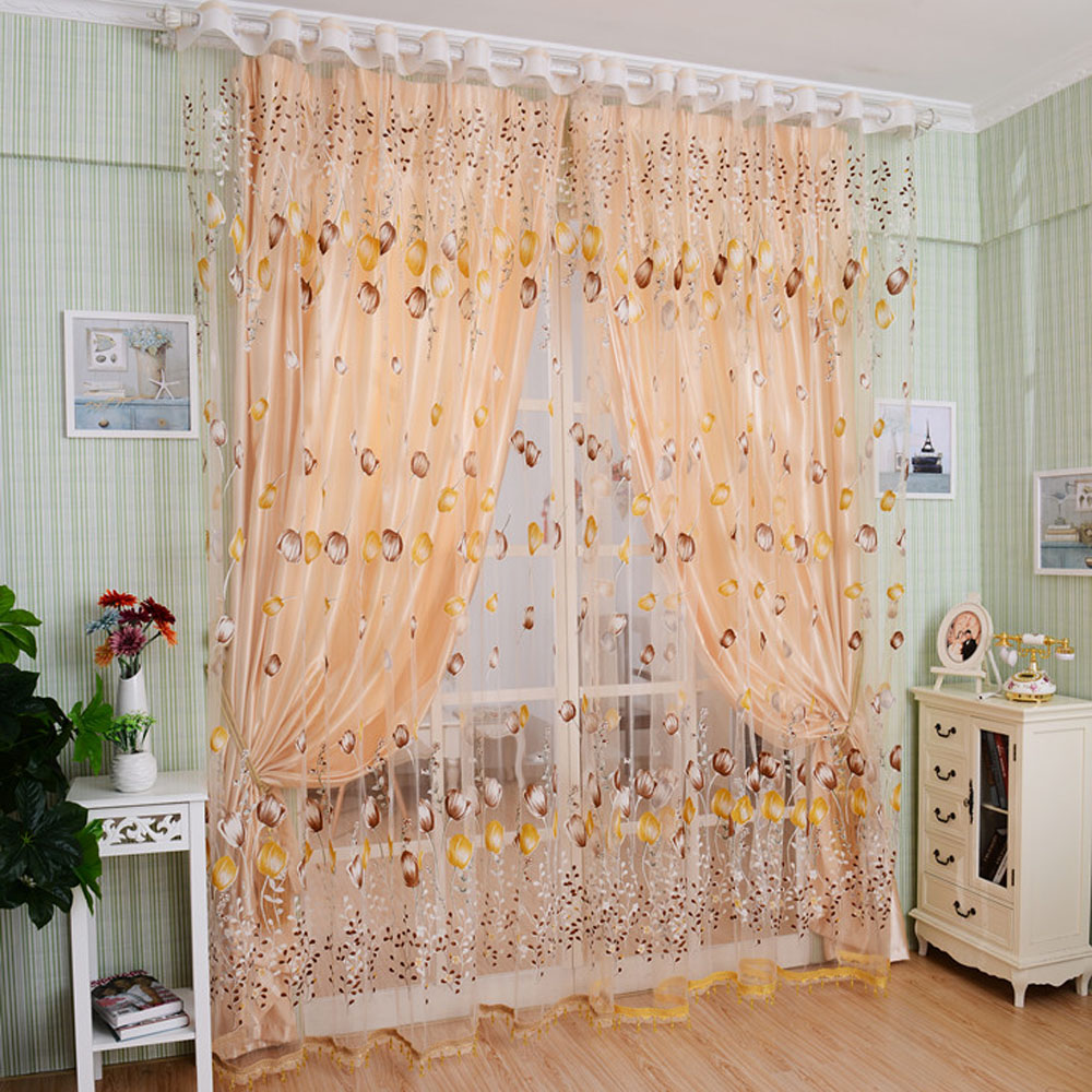 2pcs Elegant Window Curtain For Living Room Sheer Tulle For Balcony Kitchen Decoration Printed