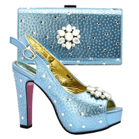 High Quality Newest Water blue African Shoes And Matching Bag Set Italian Design High Heels Shoes And Bag Set For Wedding