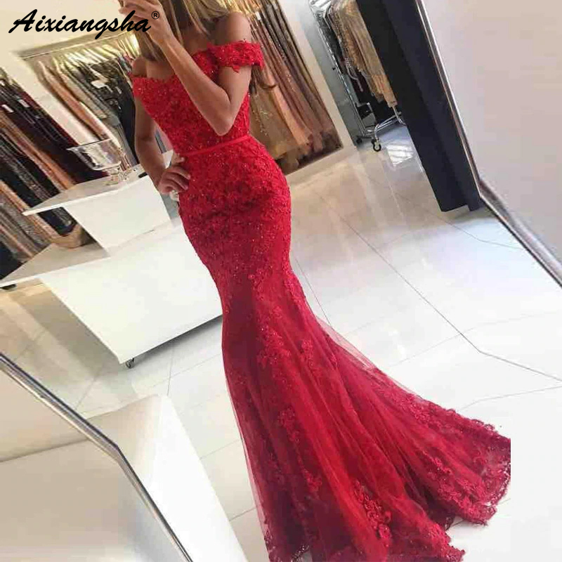 Red 2019 Prom Gown Mermaid Off The Shoulder Beaded Lace Party Formal   Dress   Women Elegant   Evening     Dresses   Robe De Soiree