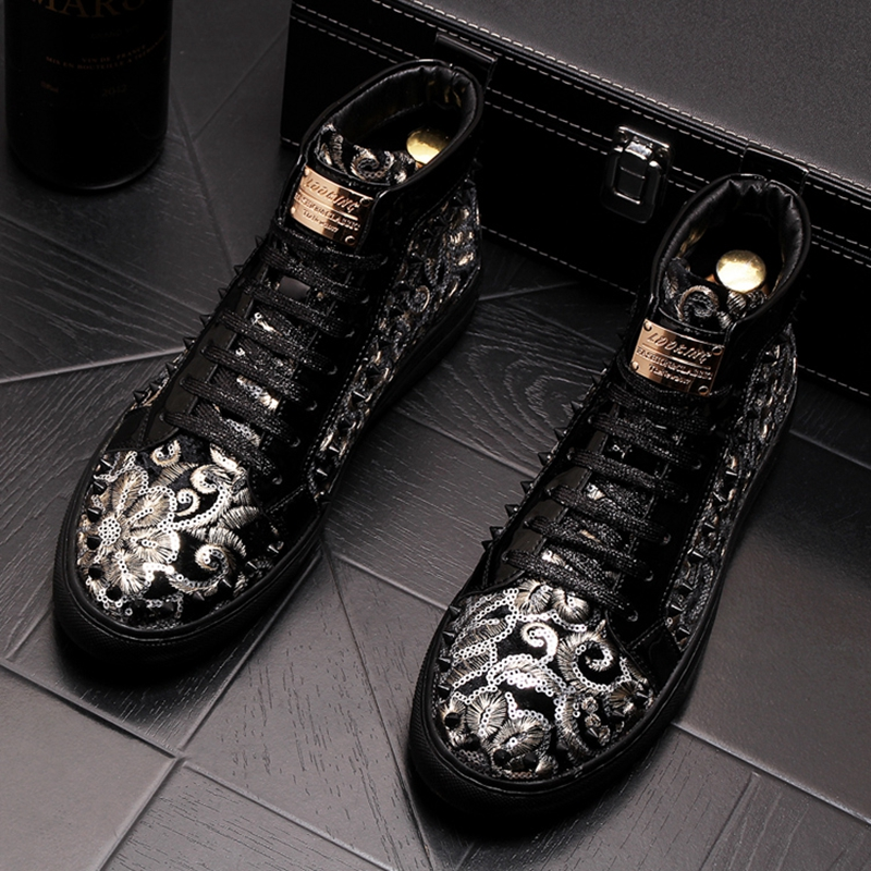 Stephoes 2019 Men Fashion Casual Ankle Boots Spring Autumn Rivets Luxury Brand High Top Sneakers Male High Top Punk Style Shoes 40