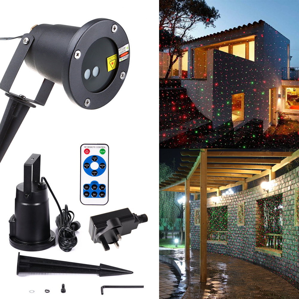 Christmas Laser Projector Outdoor Garden Star light IP44 Waterproof IR Remote Control Show Red Green Laser Lights RG Dec 12v 50w colored rgb outdoor lights 110v wall projector flood light garden waterproof landscape lamp remote control by dhl 6pcs
