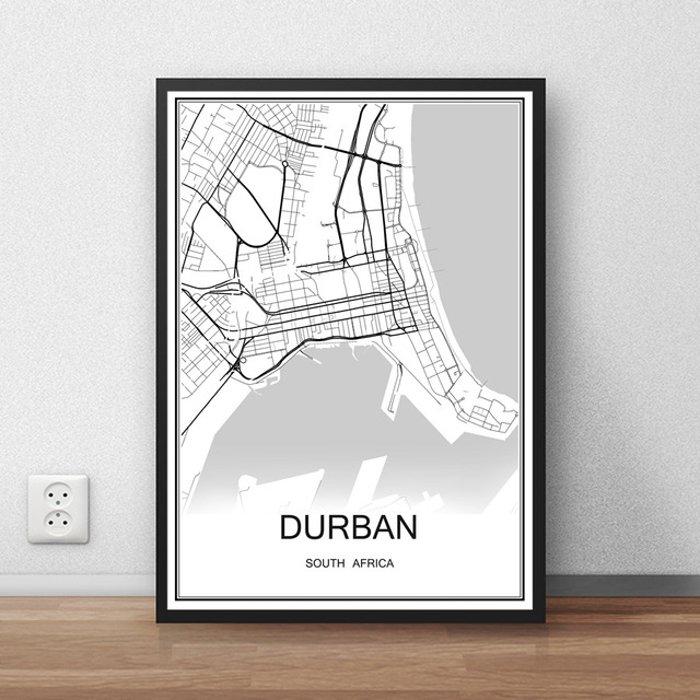 Durban south africa city street map print poster abstract coated paper bar cafe living room home