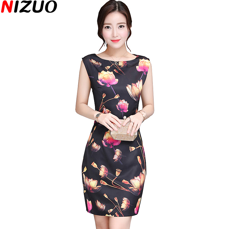 2017 New Women Summer Office Las Dress Fashion Sleeveless O Neck Show Thin Elegant Wear To Work Black Dresses Size M 4xl