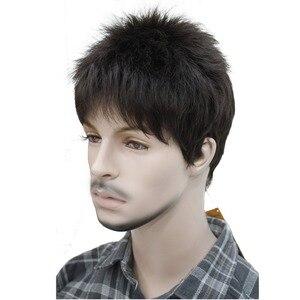 Image 2 - StrongBeauty męska peruka naturalne czarne/brązowe krótkie proste włosy syntetyczne pełne peruki 7 kolorów