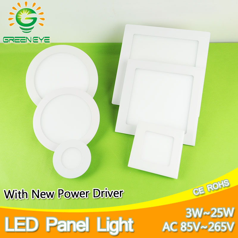 3w~25w Ultra Thin Round/Square Led Panel Light AC85-265V Downlight Ceiling Recessed LED Panel Light led down light lamp 15w 18w ultra light ночник медведь зоо led 0 5вт ultra light зелёный
