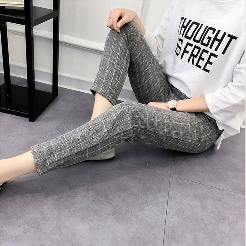 Women's Plaid Elastic Bow Tie Drawstring Pants Casual Loose Pocket Female Trousers Autumn Fashion Plus Size Ladies Harem Pants