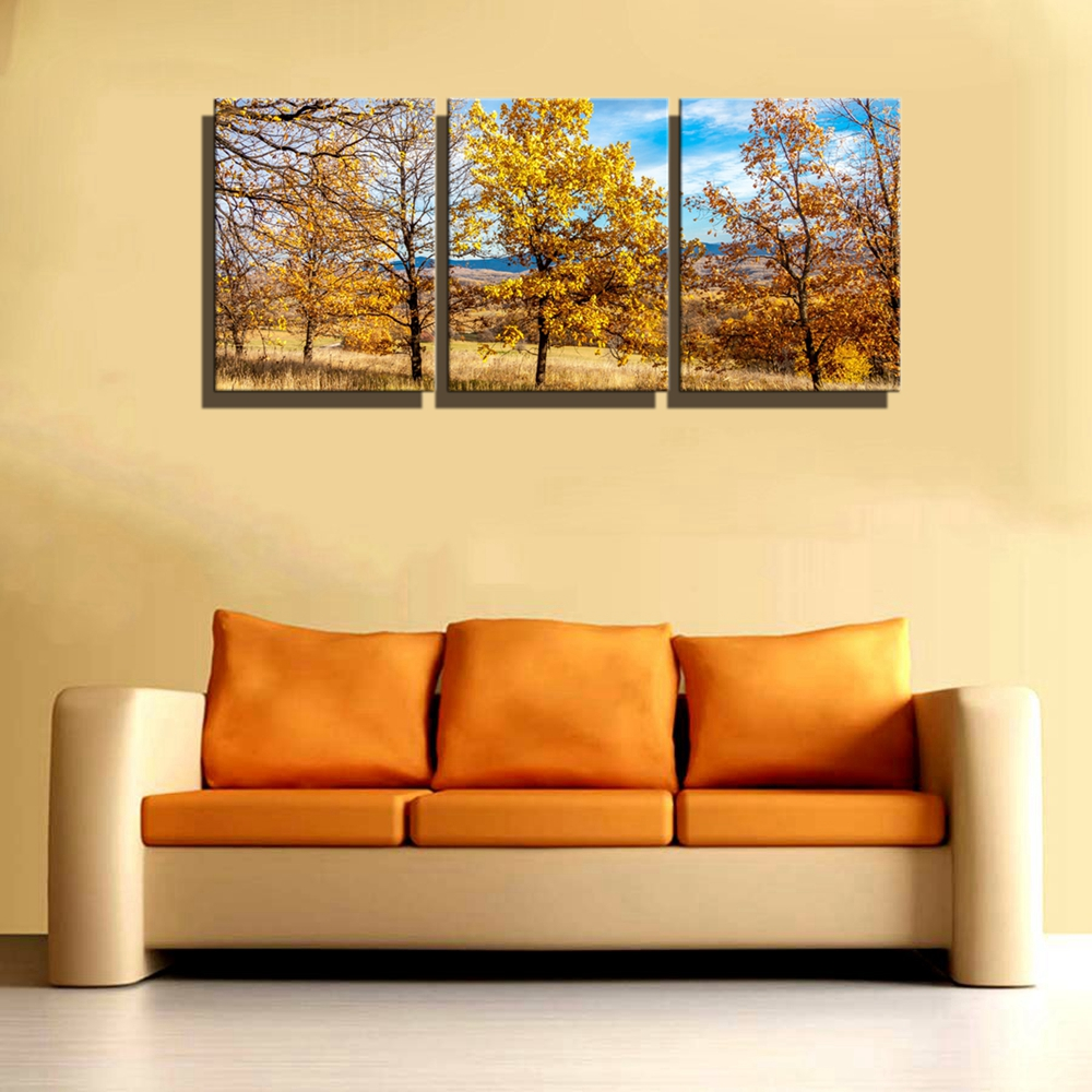 Autumn Landscape Yellow Trees Flowers Home Decorations Wall Art ...