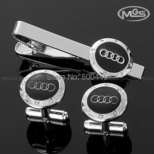 blk silver car logo four rings cufflinks tie clip