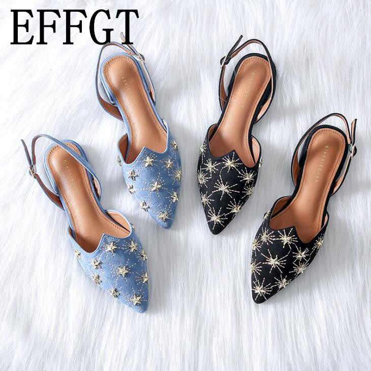 EFFGT 2019 Nuove Donne di Estate Retro Piatto singoli Pattini di modo Casual Baotou sandali in metallo stella Slingbacks sandali Romani