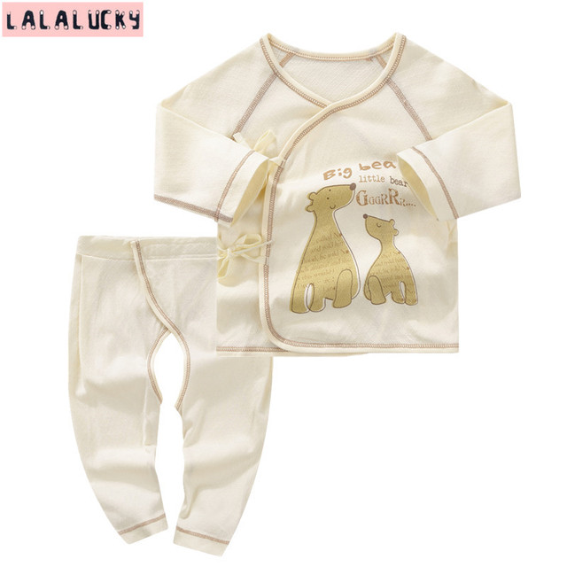 LALALUCKY Newborn Baby boy and girl clothing set  baby's underwear sets Long-sleeved underwears 0-6 M children wear
