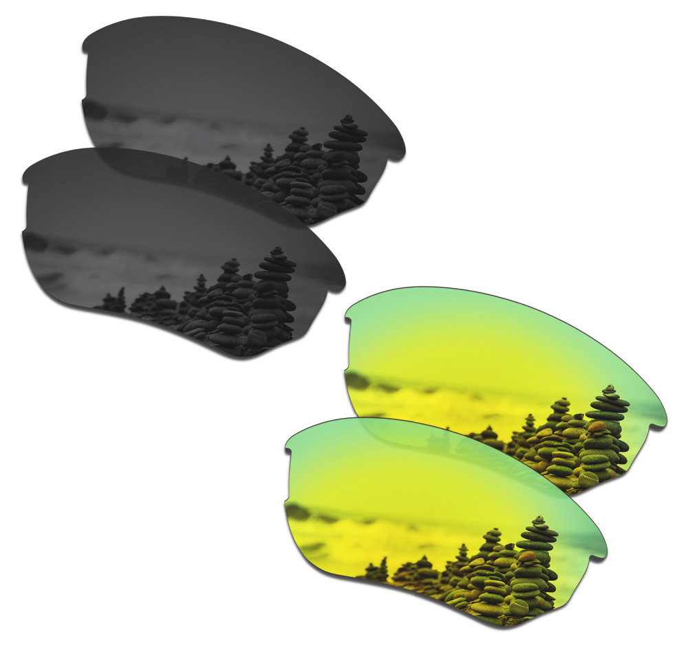SmartVLT 2 Pairs Polarized Sunglasses Replacement Lenses for Oakley Flak Beta Stealth Black and 24K Gold