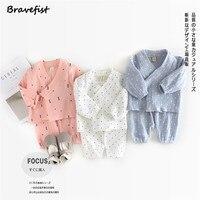 Spring Autumn Baby Girls Boys Clothes Set V Neck Long Sleeve 100 Cotton Infant Pajamas Set