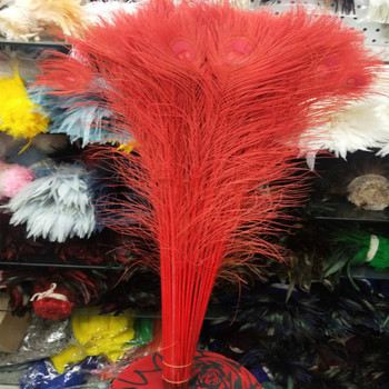 Wholesale 100pcs beautiful red peacock feather eye 70-80cm / 28-32inch decorative celebration stage performance diy