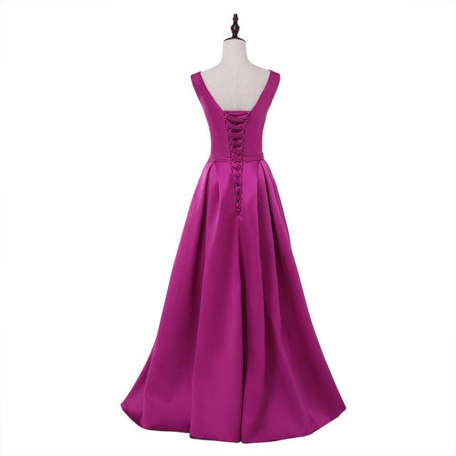 2017 Hot sale elegant evening dresses V-opening back prom formal party dress vestidos de festa style dress free shipping