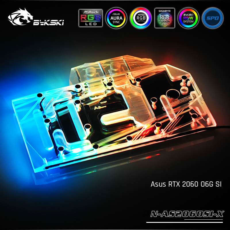 Bykski N-AS2060SI-X, bloc de refroidissement à l'eau de carte graphique à couverture complète, pour Asus RTX 2060 O6G SI