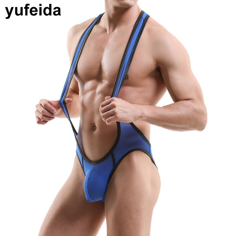 Sexy Mens Undershirts Jumpsuits Wrestling Singlets Leotard Underwear Backless Bodysuit Lingerie Male Gay Briefs Pouch Jockstrap