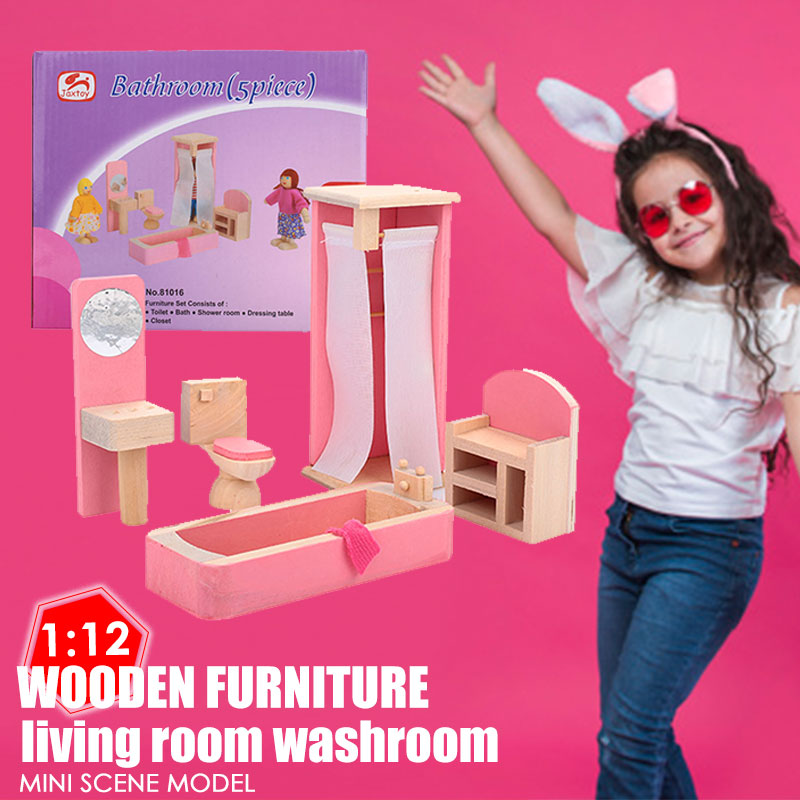 Красивый кукольный домик Туалет 1:12 кукольный домик мини мебель для детей Прямая
