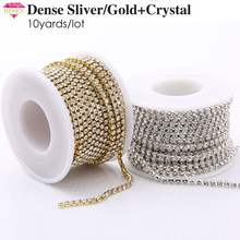 RESEN SS6-SS18(2mm-4.5mm)Silver/Gold Base Clear Crystal Dense Rhinestone Chain Apparel Sewing Glass Rhinestone Cup Chain Crystal(China)
