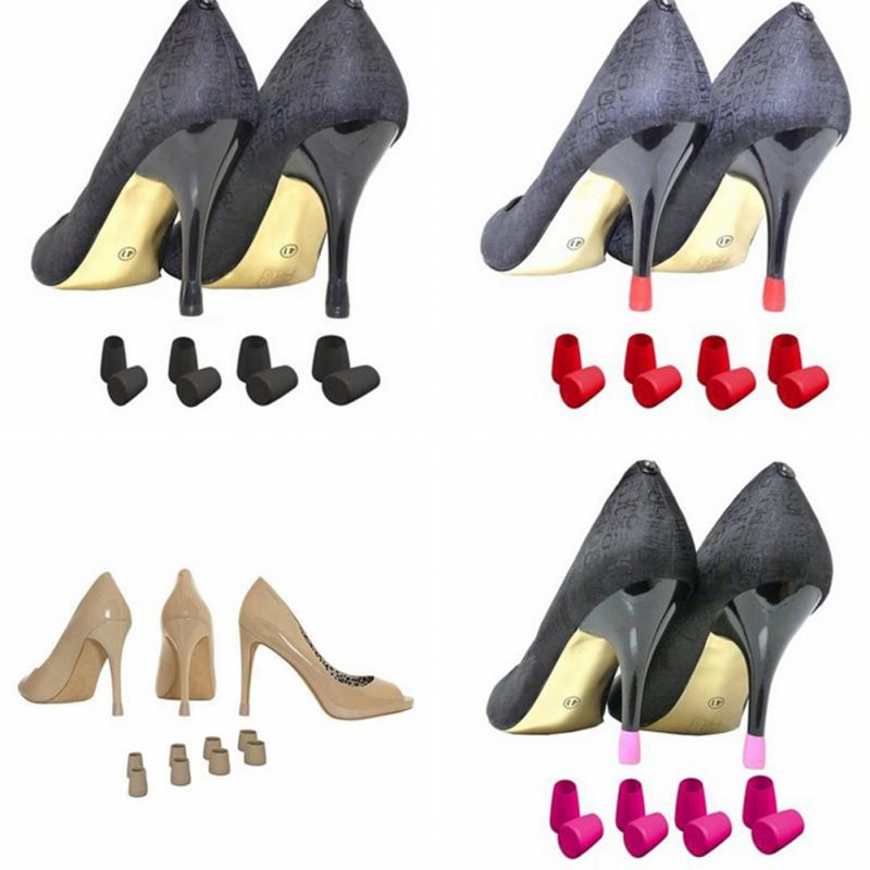 4 Pair /Lot Heel Protectors Caps High Heeler Stiletto Shoes Covers Caps Bottom Stripe Antislip Heel Tips