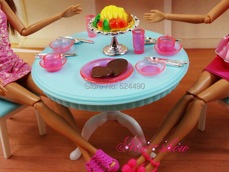 Green Dinner Tea Table Chair Refrigerator Set Dollhouse Accessories Girls Toy Furniture For 1 6 Barbie Kelly Doll Gift In Dolls From Toys