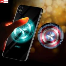 iron Man Batman Marvel Comics Design Luminous Tempered Glass Phone Case For iPhone XS MAX XR X 10 7 8 6 6S Plus Captain America elephant design luminous iphone case