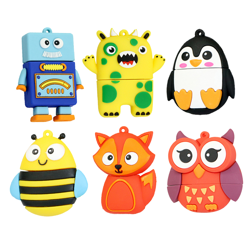 64GB Cute Robot Cartoon Penguin Owl Fox Style Usb Flash Drive Usb 2.0 8GB 16GB 32GB Creative Full Capacity Pendrive Kids Gift