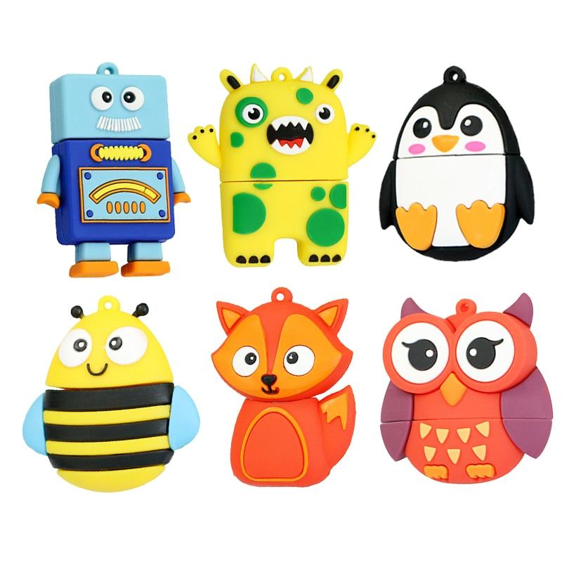 64GB Cute Robot Cartoon Penguin Owl Fox Style Usb Flash Drive Usb 2.0 8GB 16GB 32GB Creative Full Capacity Pendrive Kids Gift