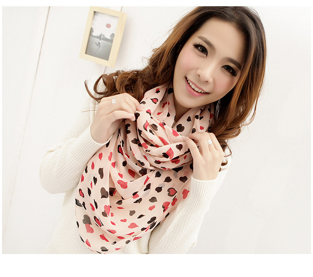 W018 Hot! Fashion New Year Christmas Gifts Wild Sweet Little Love Peach Heart Scarf Scarves Jewelry
