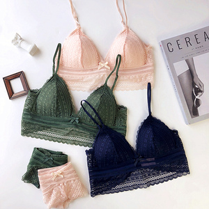 Image 1 - 4 colors Sexy lace 3/4 cup thin cotton women wire free bra and panty set transparent female underwear lingerie girls sleepwear