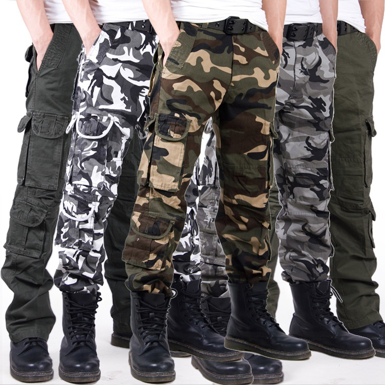 2018 New Joggers Men Casual Camouflage Cargo Pants Men Quality 100% Cotton Elastic Comfortable Trousers Plus Size men s fashion casual cotton pants brown size 33