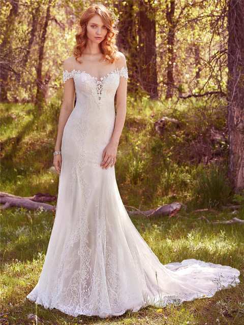 3a853d2991 Beaded Lace Appliques Illusion Plunging Sweetheart Neckline Illusion  Off-the-shoulder Short Sleeves Wedding Dress 7MC429