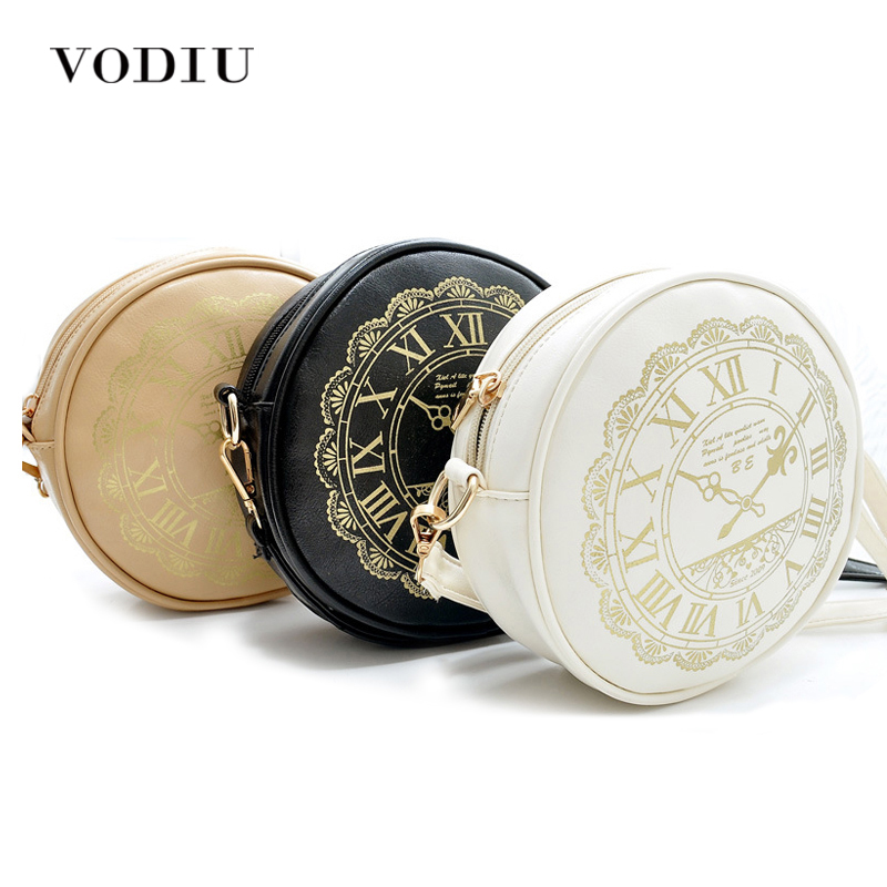 New Women Leather Handbags Crossbody Bags Over Shoulder Printing Round Watch Small Motorcycle Female Bolsas Casual Dollar Price