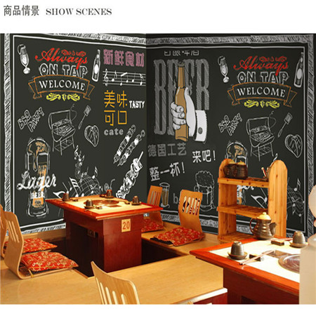 Custom 3d mural wallpaper custom 3D Retro blackboard graffiti wallpaper barbeque store bar Cafe restaurant wallpaper mural custom size photo 3d wood blackboard graffiti wallpaper pizza shop snack bar restaurant burgers store wallpaper mural