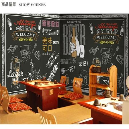 Custom 3d mural wallpaper custom 3D Retro blackboard graffiti wallpaper barbeque store bar Cafe restaurant wallpaper mural