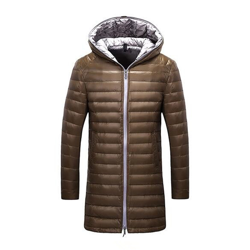2016 Plus Long Mens White Duck Down Coat Solid Warm Hooded Parka for Winter P6007