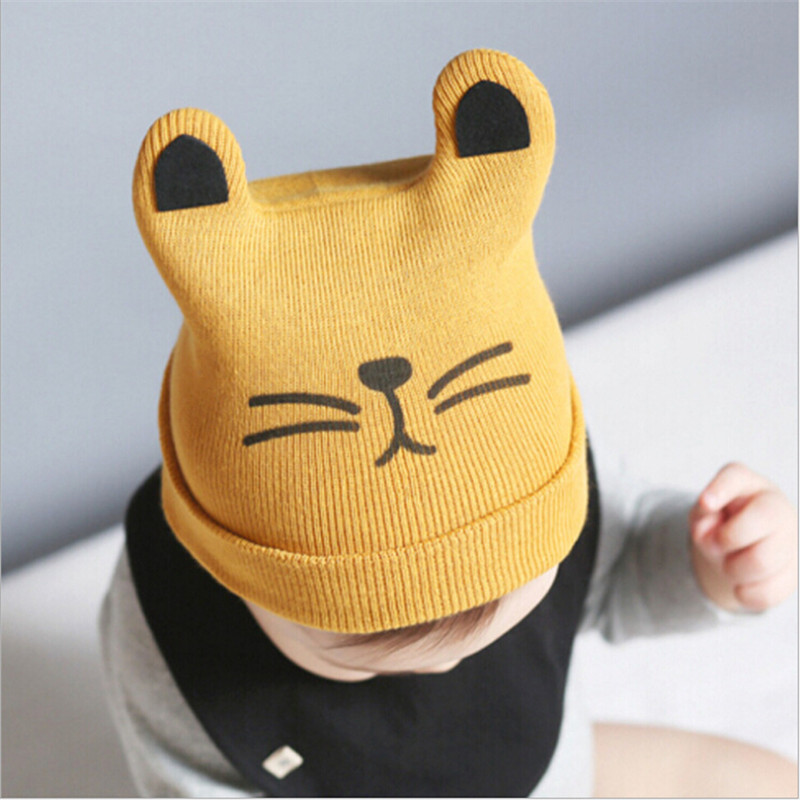 Newborn Baby Hat Autumn Winter Baby Beanie Warm Cartoon Cat Cotton Infant Cap Kids Clothing Accessories Cute Hat