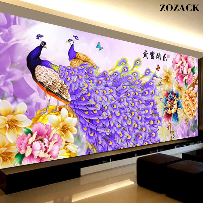 New Peony Purple Peacock Counted Print Cross Stitch 11CT DMC DIY Cross-Stitch Flowers Kits For Embroidery Home Decor Needlework