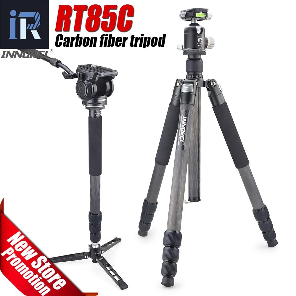 RT85C fibra de carbono tripé para DSLR camera digital heavy duty panorâmica bola cabeça Monopé Profissional duplo 25 kg urso