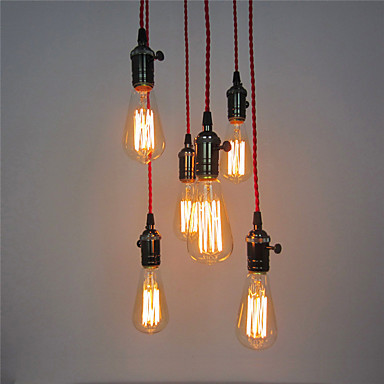 6 Heads Retro Loft Style Industrial Pendant Lamp Lighting Fixtures